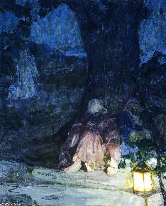 The Sleeping Disciples (also known as Christ in the Garden of Gethsemane), 1923 by Henry Ossawa Tanner (1859-1937, United States) | Famous Paintings Reproductions | WahooArt.com