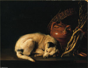 Gerrit Dou - A Sleeping Dog Beside a Terracotta Jug, a Basket, and a Pile of Kindling Wood