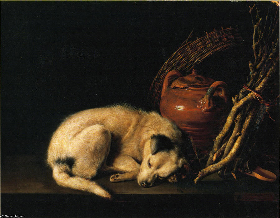 A Sleeping Dog Beside a Terracotta Jug, a Basket, and a Pile of Kindling Wood, 1650 by Gerrit (Gérard) Dou (1613-1675, Netherlands) | Museum Quality Reproductions | WahooArt.com