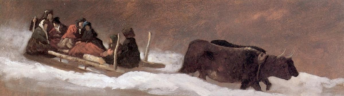 The Sleigh Ride, 1866 by Jonathan Eastman Johnson (1824-1906, United Kingdom) | Oil Painting | WahooArt.com