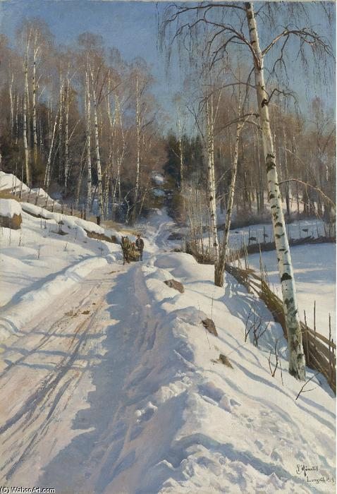 Sleigh ride on a Sunny Winter Day, 1919 by Peder Mork Monsted (1859-1941, Denmark) | Museum Quality Reproductions | WahooArt.com