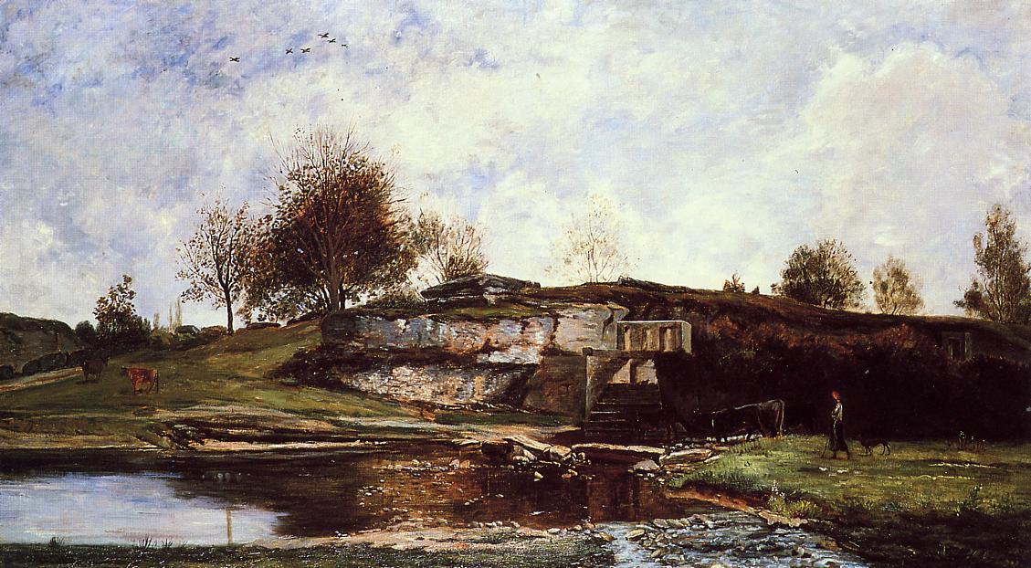 Sluice in the Optevoz Valley, 1854 by Charles François Daubigny (1817-1878, France) | Museum Quality Reproductions | WahooArt.com