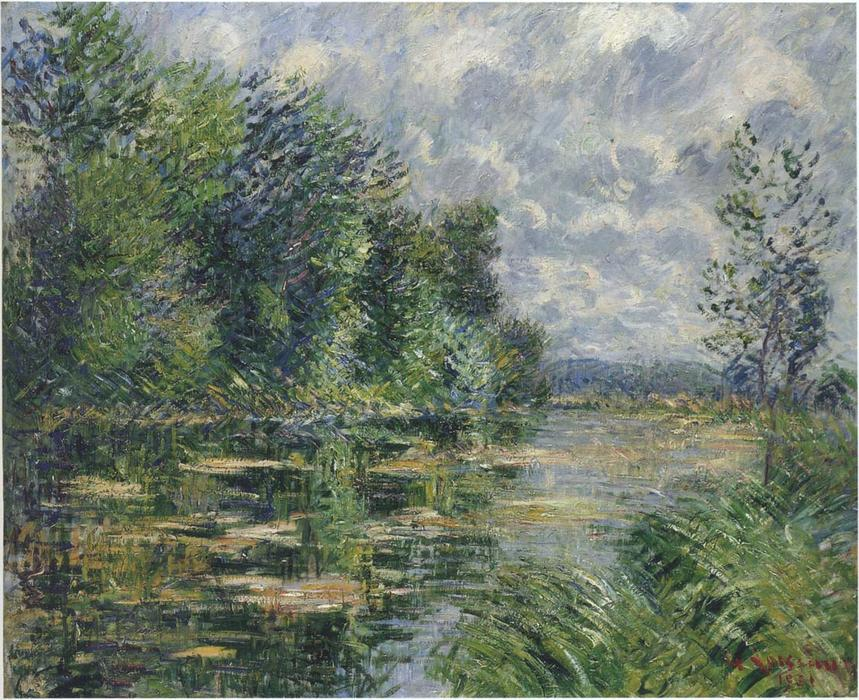 Small arm of the Seine near Connelle, 1921 by Gustave Loiseau (1865-1935, France) | Painting Copy | WahooArt.com