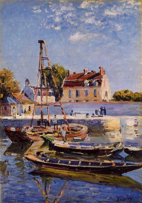 Small Boats, Oil On Canvas by Alfred Sisley (1839-1899, France)
