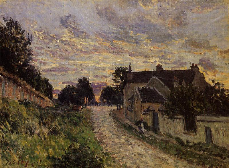 A Small Street in Louveciennes, Oil On Canvas by Alfred Sisley (1839-1899, France)
