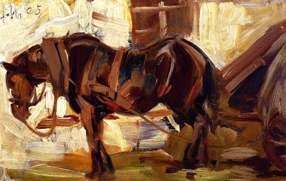 Small Study of a Horse II, Oil On Panel by Franz Marc (1880-1916, Germany)
