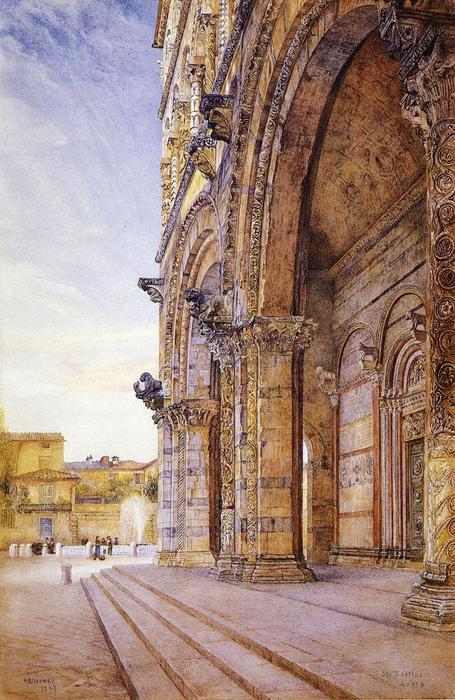 San Martino, Lucca, Watercolour by Henry Roderick Newman (1833-1918, United States)