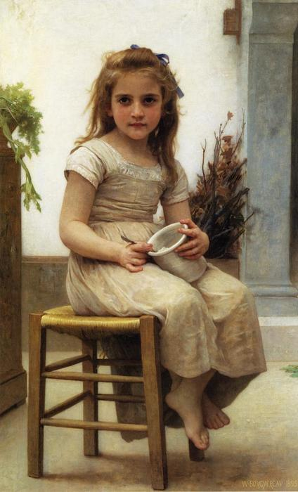 The Snack (also known as Le Gouter), 1895 by William Adolphe Bouguereau (1825-1905, France) | Oil Painting | WahooArt.com