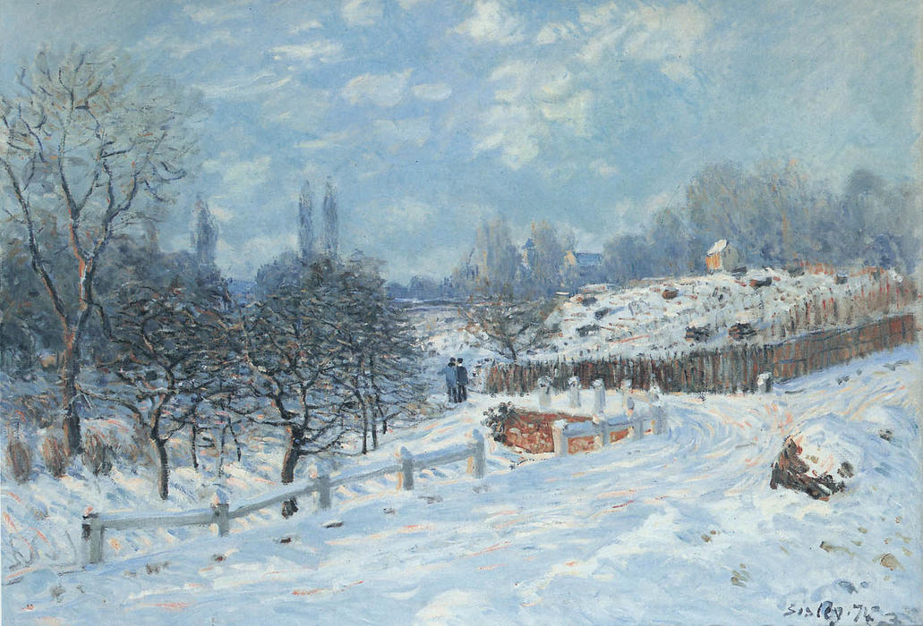 Snow at Louveciennes, Oil On Canvas by Alfred Sisley (1839-1899, France)