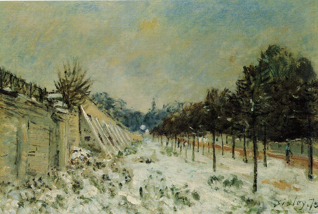 Snow at Marly-le-Roi, 1875 by Alfred Sisley (1839-1899, France) | Oil Painting | WahooArt.com