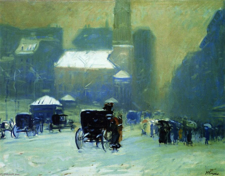 Snowy Day, Park Street Church, Boston, 1905 by Arthur Clifton Goodwin (1864-1929, United States) | WahooArt.com