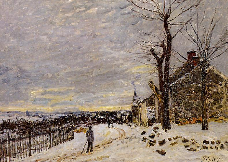 Order Oil Painting : Snowy Weather at Veneux-Nadon, 1880 by Alfred Sisley (1839-1899, France) | WahooArt.com
