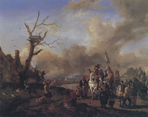 Philips Wouwerman - The soldiers squad with sutlers and children