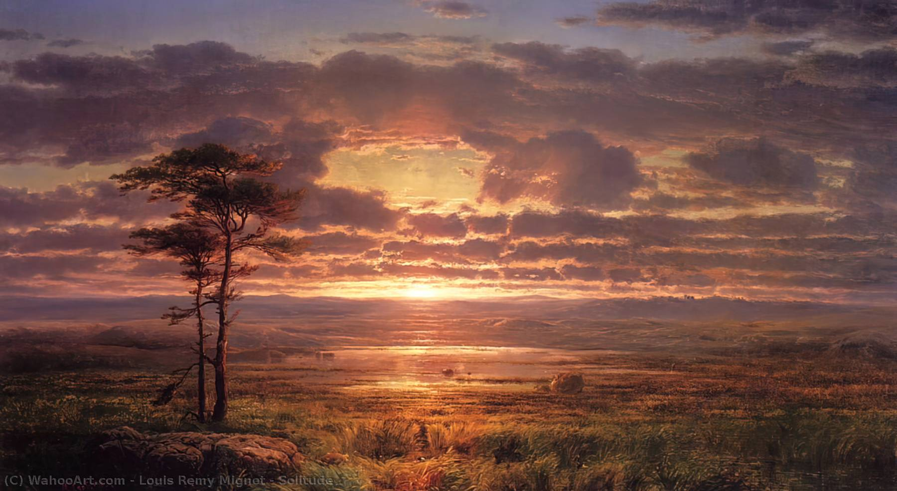Solitude, Oil On Canvas by Louis Remy Mignot (1831-1870, United States)
