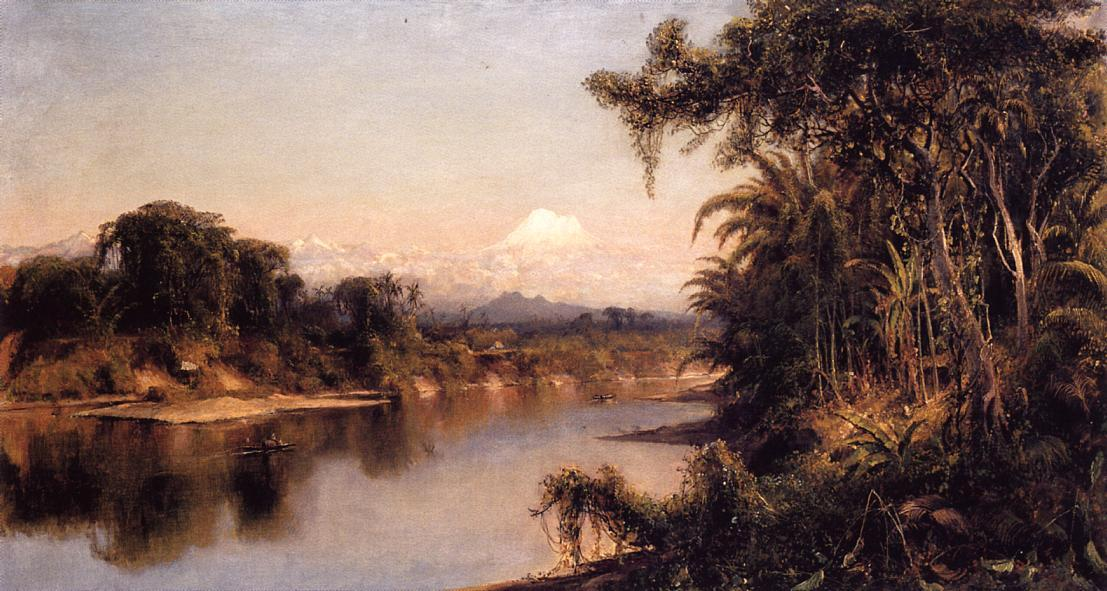 South American Landscape (also known as Chimborazo from Riobamba), Oil On Canvas by Louis Remy Mignot (1831-1870, United States)