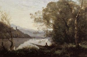 Jean Baptiste Camille Corot - Souvenir of Italy (also known as The Moored Boat)