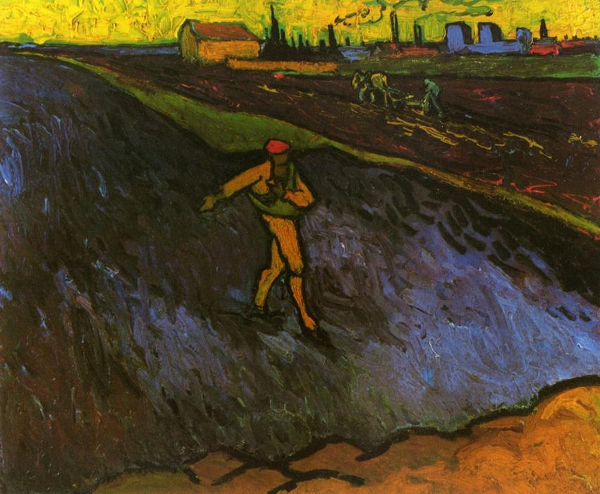 Order Reproductions | The Sower: Outskirts of Arles in the Background, 1888 by Vincent Van Gogh (1853-1890, Netherlands) | WahooArt.com
