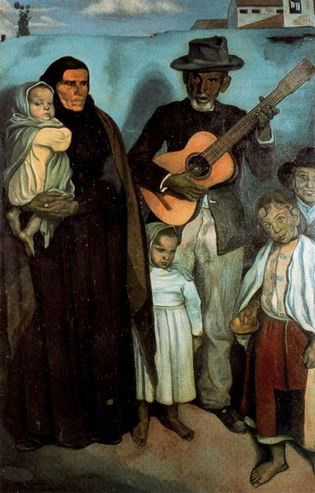 Spanish street musician and his family, Oil On Canvas by Emile Bernard (1868-1941, France)