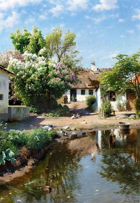 Spring day at a thatched house with blooming lilacs, 1925 by Peder Mork Monsted (1859-1941, Denmark) | Museum Quality Reproductions | WahooArt.com