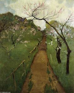 Arthur Wesley Dow - Spring Landscape with a Farmer and White Horse
