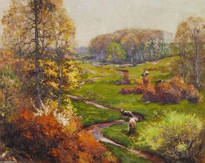 Mathias Joseph Alten - Spring Landscape with Meandering Stream and Cows