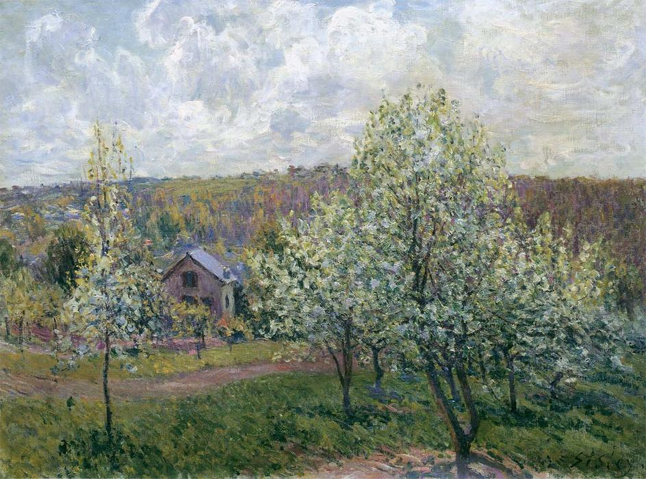 Spring near Paris, 1880 by Alfred Sisley (1839-1899, France) | Famous Paintings Reproductions | WahooArt.com