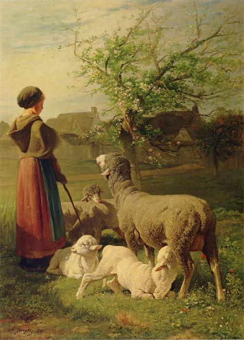 Springtime (also known as Le Printemps), 1859 by Charles Émile Jacque (1813-1894, France) | Art Reproductions Charles Émile Jacque | WahooArt.com