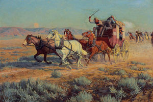 Richard Lorenz - Stagecoach Pursued by Mounted Indians