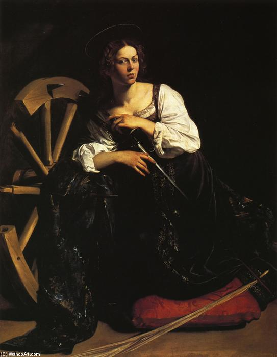 St. Catherine of Alexandria, 1599 by Caravaggio (Michelangelo Merisi) (1571-1610, Spain) | Art Reproduction | WahooArt.com