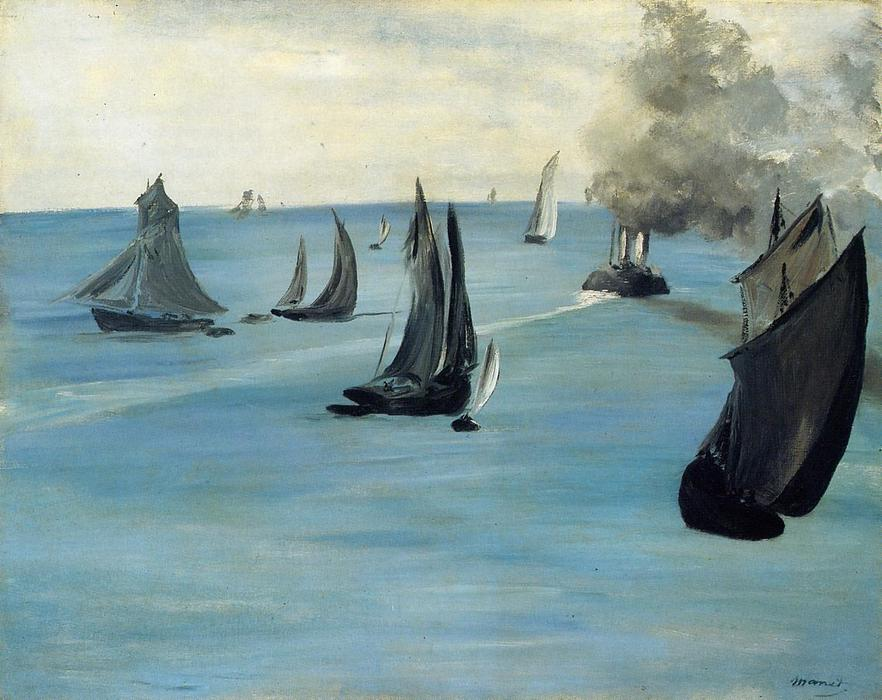 Steamboat (also known as Seascape, Calm Weather), Oil On Canvas by Edouard Manet (1832-1883, France)