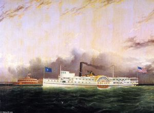 James Edward Buttersworth - The Steamboat Escort'' off the Battery''