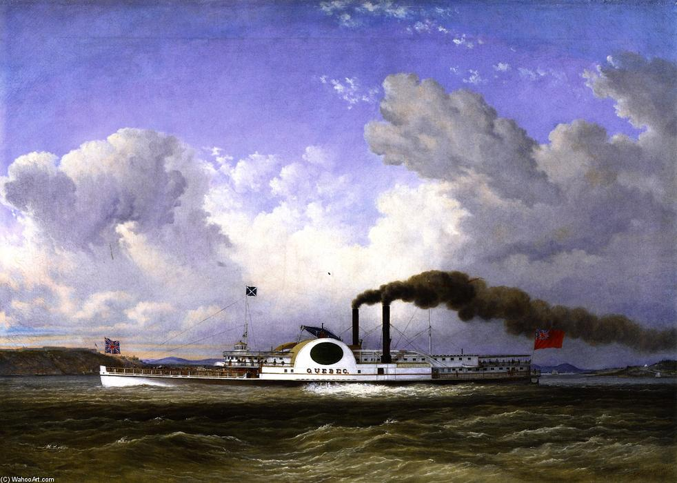 The Steamship 'Quebec', Oil On Canvas by Cornelius David Krieghoff (1815-1872, Netherlands)
