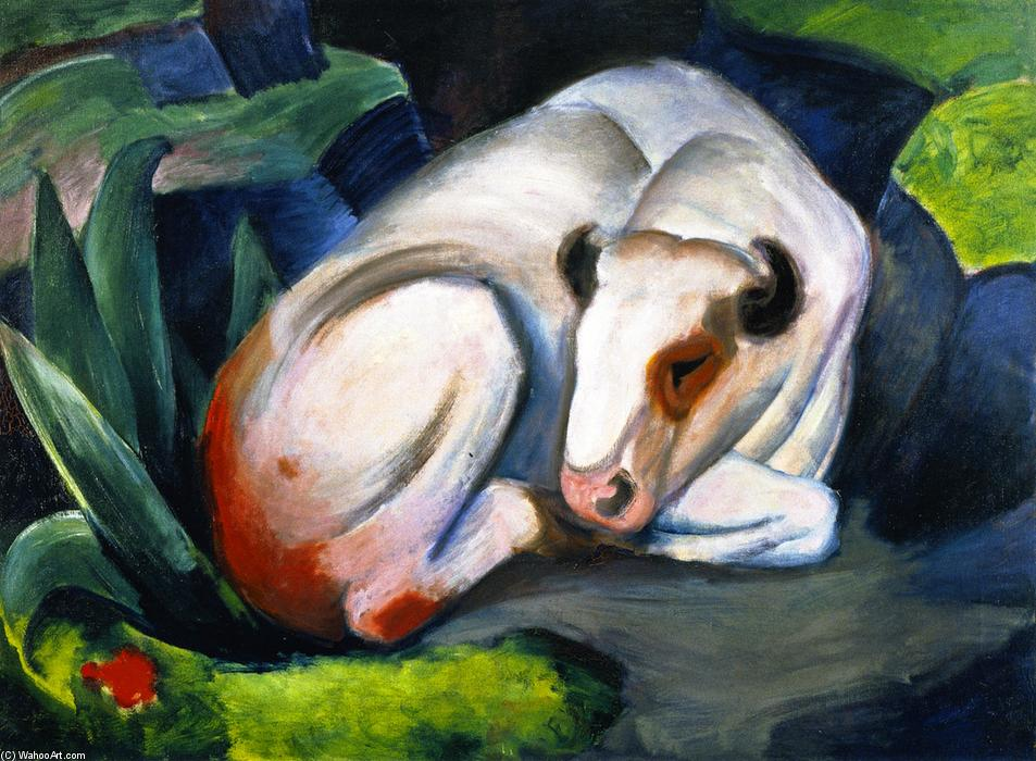 The Steer (also known as The Bull or White Bull), Oil On Canvas by Franz Marc (1880-1916, Germany)