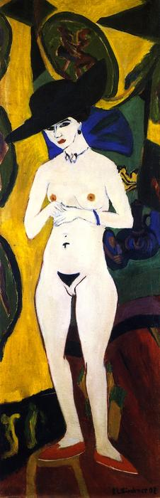 Stehender Akt mit Hut, Oil On Canvas by Ernst Ludwig Kirchner (1880-1938, Germany)