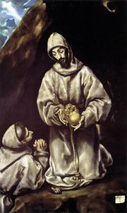 El Greco (Doménikos Theotokopoulos) - St Francis and Brother Leo Meditating on Death