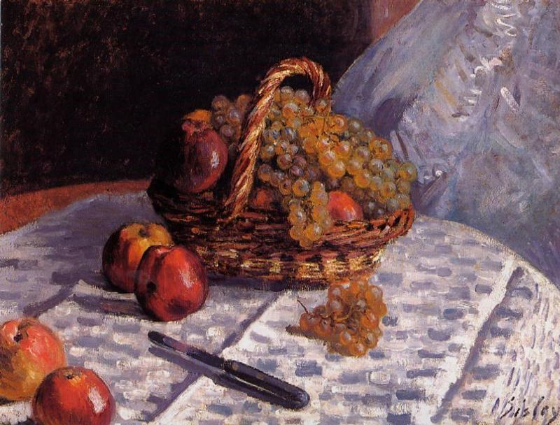 Still Life - Apples and Grapes, Oil On Canvas by Alfred Sisley (1839-1899, France)