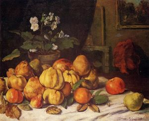 Gustave Courbet - Still Life: Apples, Pears and Flowers on a Table, Saint Pelagie