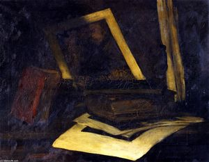 William Merritt Chase - Still LIfe Etching and Book (also known as The Wind Mill Etching)