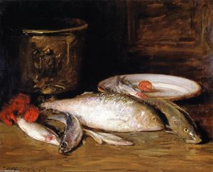 William Merritt Chase - Still LIfe - Fish (also known as Bass and Still LIfe)