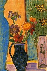 Alexej Georgewitsch Von Jawlensky - Still LIfe: Flowers with Blue Vases and Pink Wallpaper