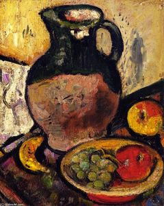 George Leslie Hunter - A Still LIfe of Fruit and Green Jug