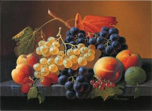 Severin Roesen - Still Life of Fruit on a Marble Tabletop