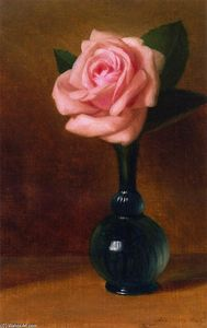 George Henry Hall - Still Life: Pink Rose in a Green Vase