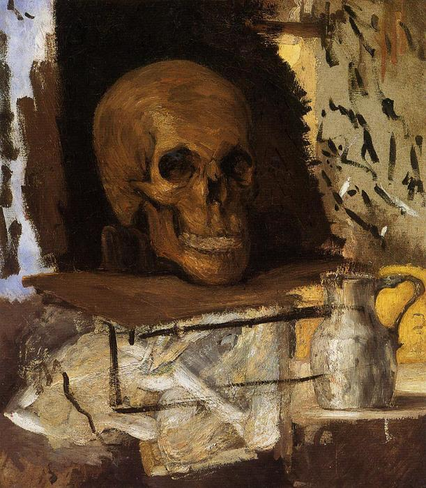 Still Life: Skull and Waterjug, 1868 by Paul Cezanne (1839-1906, France) | Oil Painting | WahooArt.com