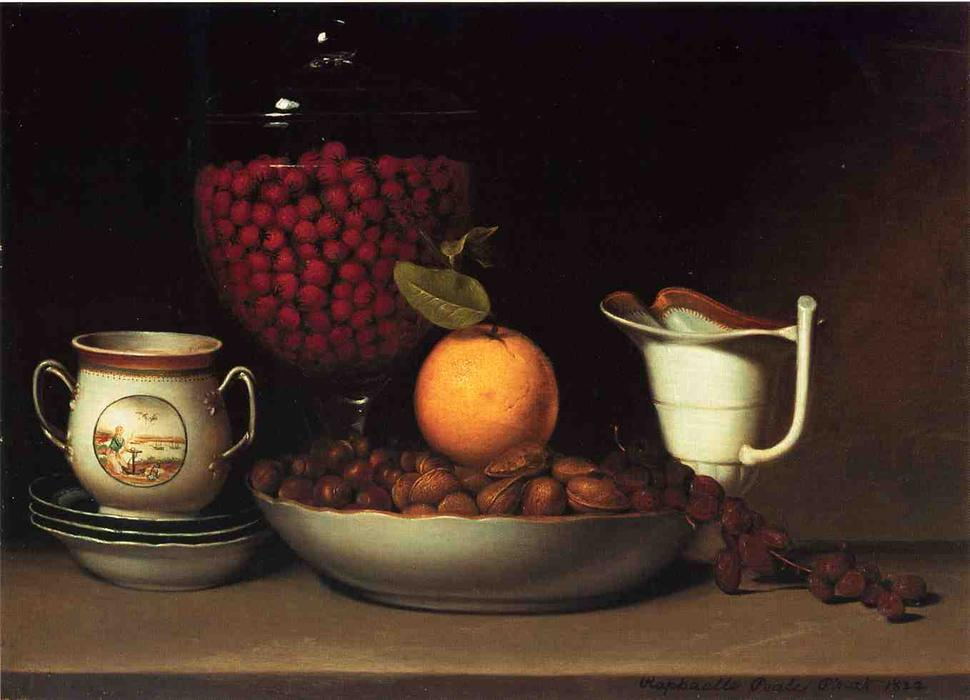 Still Life, Strawberries and Nuts by Raphaelle Peale (1774-1825, United States) | Paintings Reproductions Raphaelle Peale | WahooArt.com