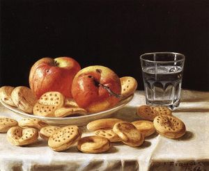 John F Francis - Still Life with Apples and Biscuits