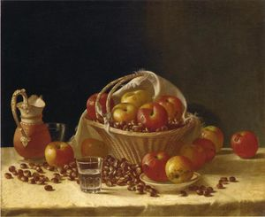 John F Francis - Still Life with Apples, a Basket and Chestnuts