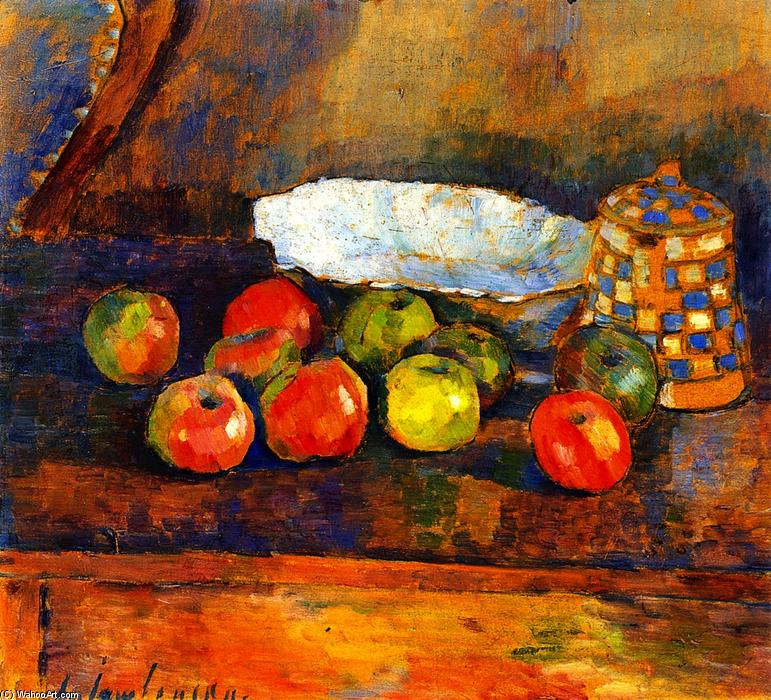 Still LIfe with Apples, Blue Bowl and Coffee Pot, 1907 by Alexej Georgewitsch Von Jawlensky (1864-1941, Russia) | Reproductions Alexej Georgewitsch Von Jawlensky | WahooArt.com