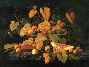 Severin Roesen - Still Life with Basket of Fruit