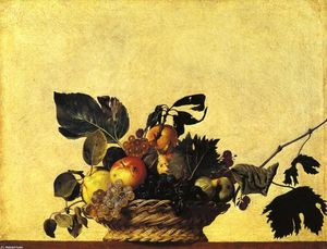 Still Life with a Basket of Fruit, Oil On Canvas by Caravaggio  (order Fine Art Print on canvas Caravaggio (Michelangelo Merisi))